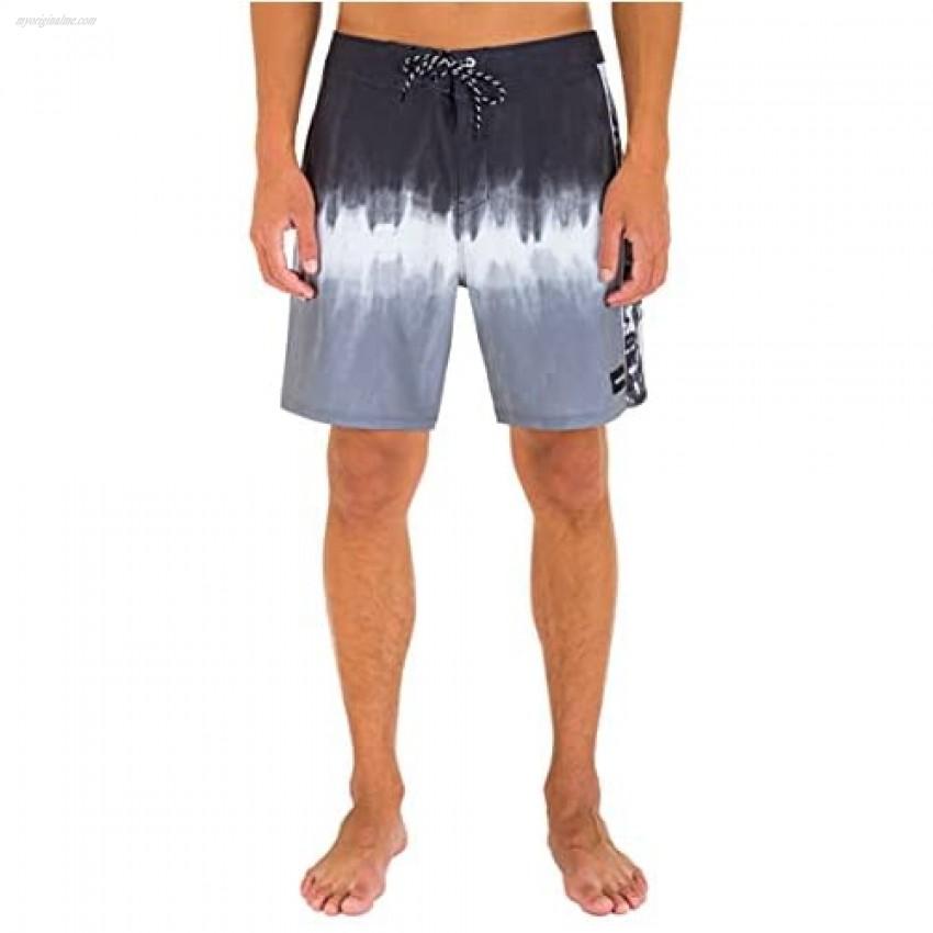 "Hurley Men's Phantom Fastlane Printed 18"" Board Shorts Black 36"
