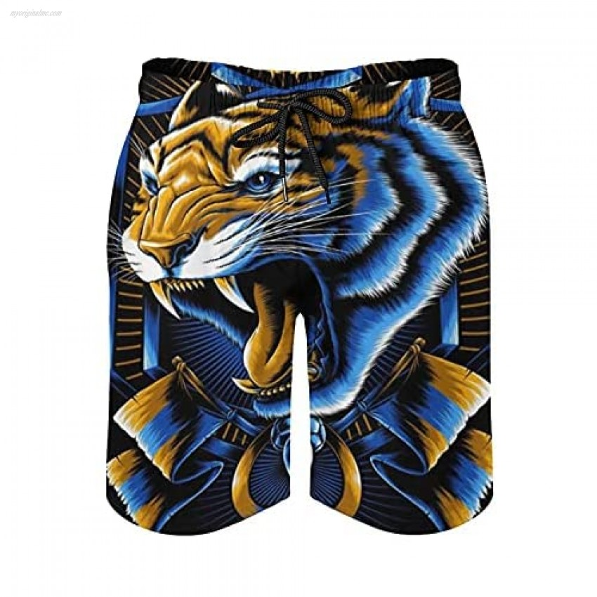 Rodoit Men's Quick-Drying Beach Shorts Men's Tiger Print Board Shorts Swimwear Beach Holiday Party Swim Trunks