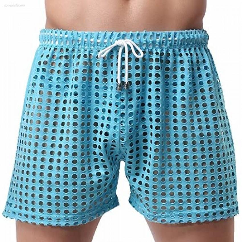 FEESHOW Men's Hollow Openwork Drawstring Bikini Cover up Boxer Briefs Shorts Swim Trunks