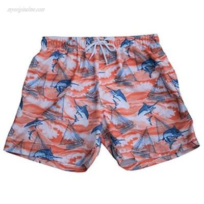 "Alki'i Men's 6"" Fashion Swim Shorts with Zipper Pocket -Marlin Sailboat"