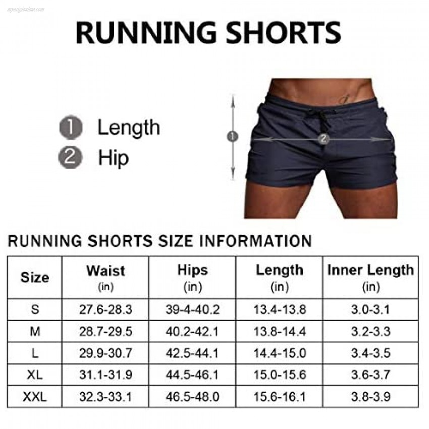 BUXKR Men's Running Shorts Swimming Trunk Lace up Quick Dry with Side Zipper Pocket