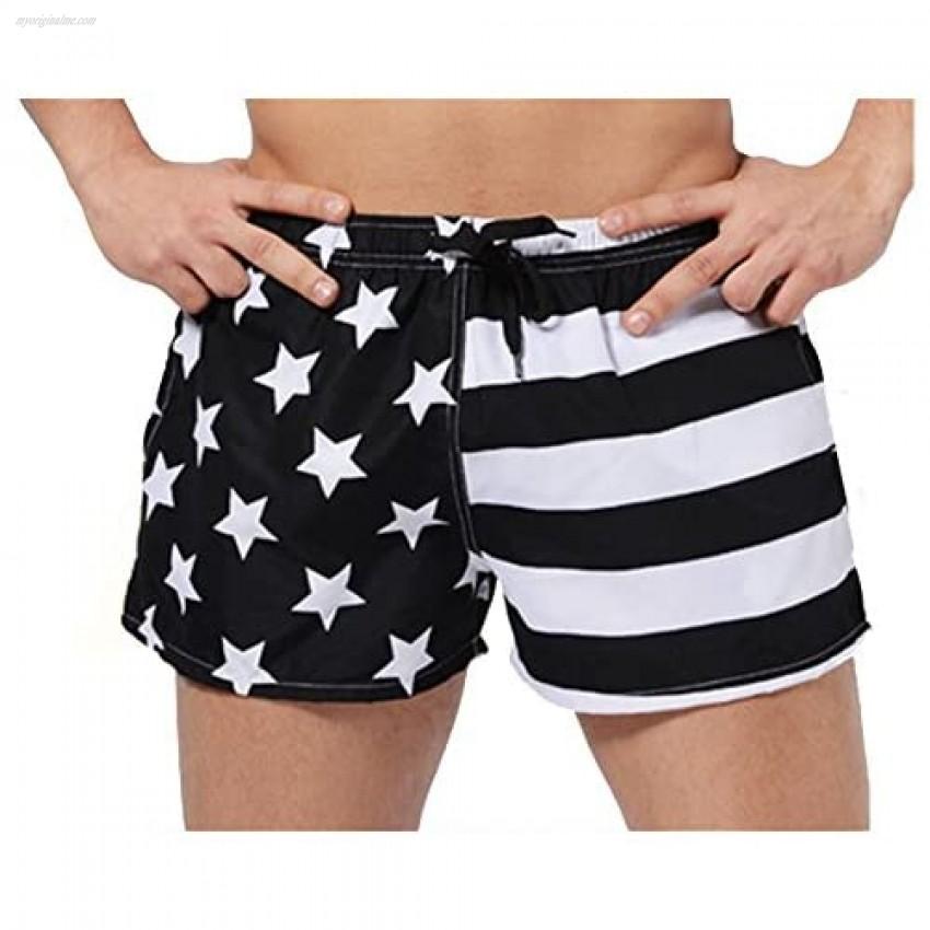 Leories Men's Faded Patriotic Glory USA American Flag Swim Trunks