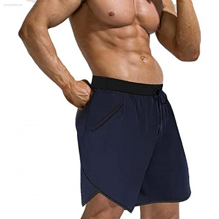 Men's Slim Swim Shorts with Pockets Quick Dry Mens Split Side Running Short Beach Swimsuit Sports Swim Trunks Blue-Navy