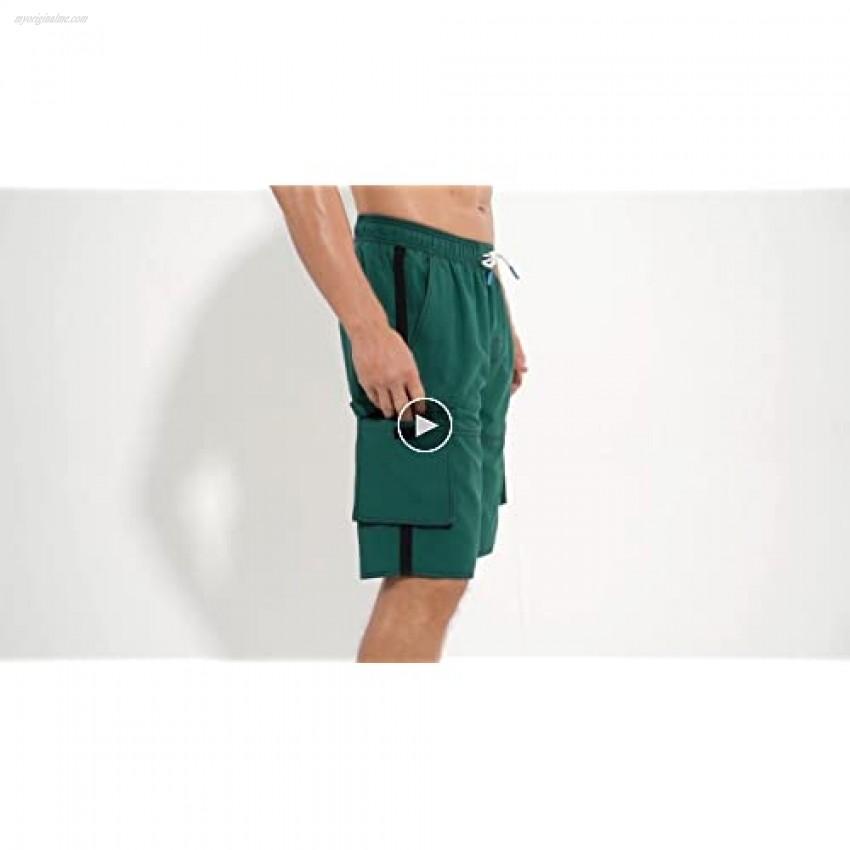 ninovino Men's Swim Trunks Quick Dry with Pockets and Mesh Lining Beach Shorts
