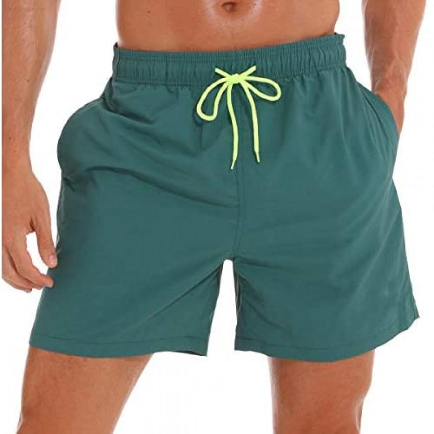 SILKWORLD Men's Swim Trunks Quick Dry Beach Shorts with Pockets US XXL Darkcyan