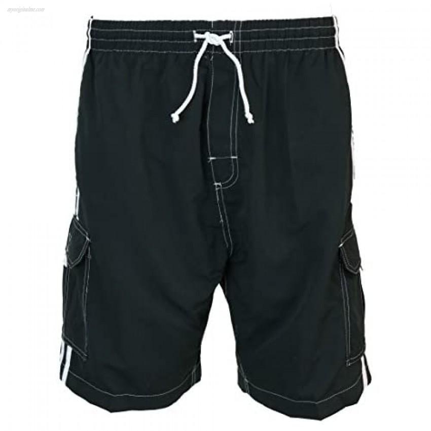 SURF AVE Men's Classic Five Pockets No Grommets Long Swim Trunks Bathing Suit
