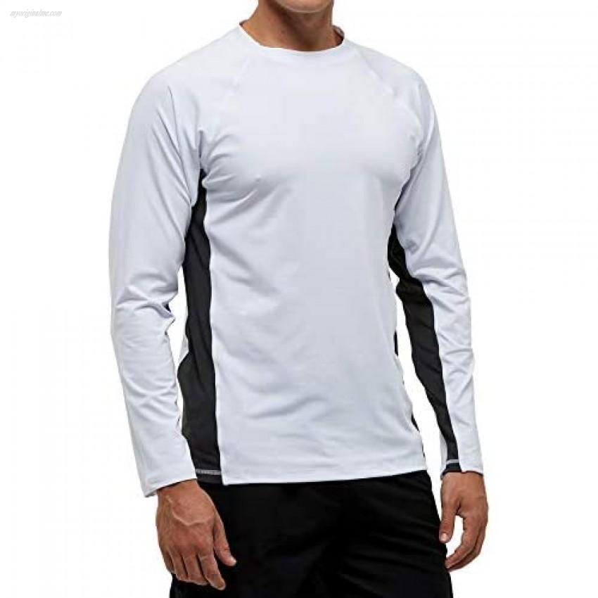 SLYRAIME Mens UPF 50+ Quick Dry Sun Protection Beach Swim Shirt Running Long Sleeves Workout Tops