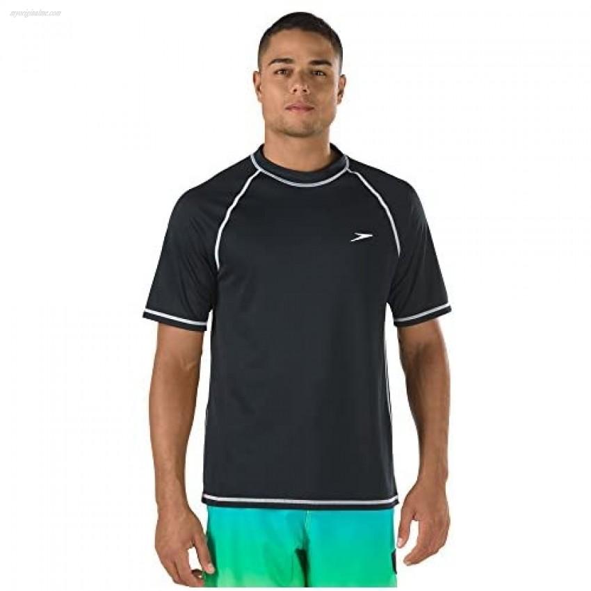 Speedo Men's Uv Swim Shirt Short Sleeve Loose Fit Easy Tee-Discontinued