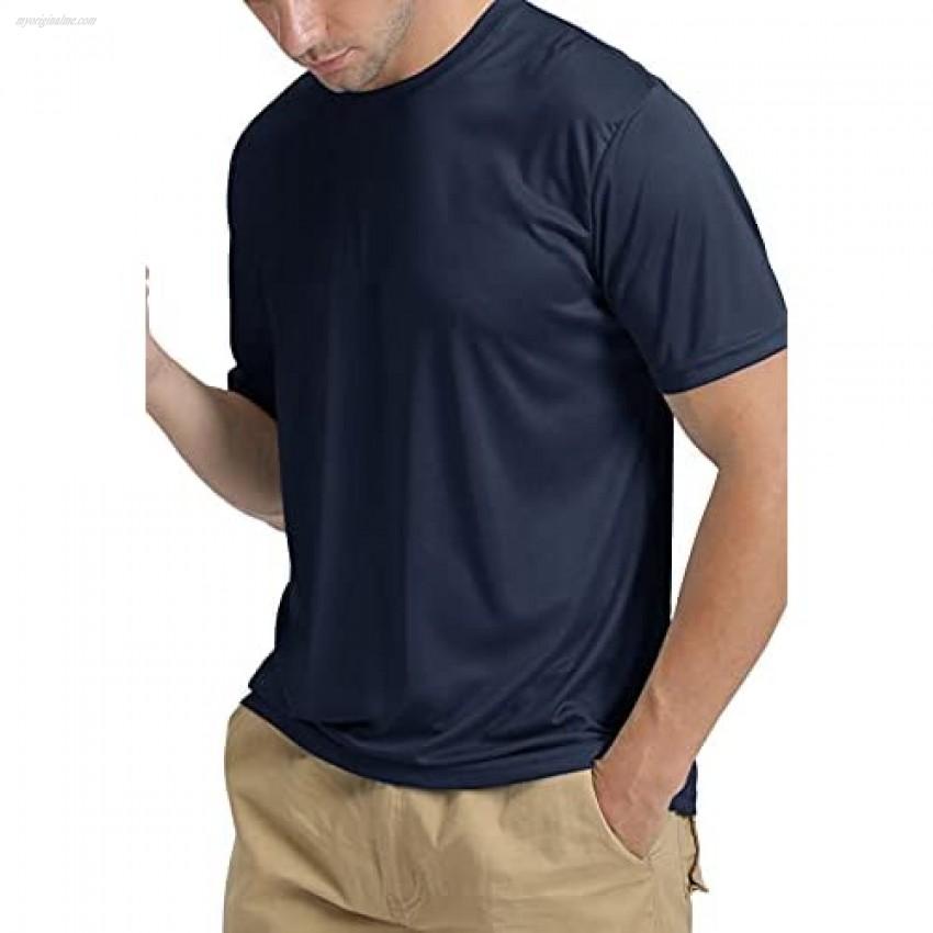 TACVASEN Men's Athletic Shirts Summer Sun Protection UPF 50+ Quick-Dry Short Sleeve Outdoor Solid Fishing Swim T Shirt