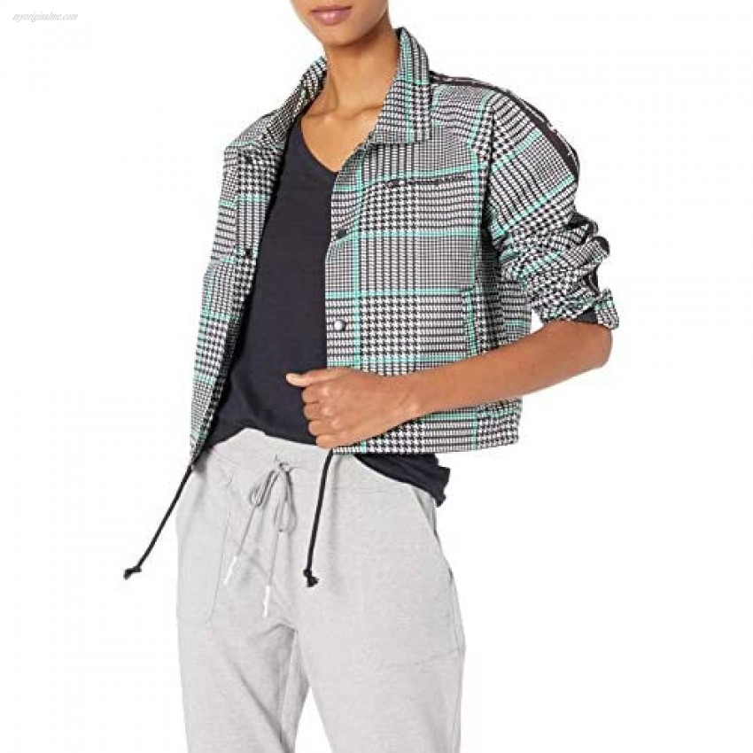 Champion Women's Cropped Coaches Jacket-Houndstooth AOP