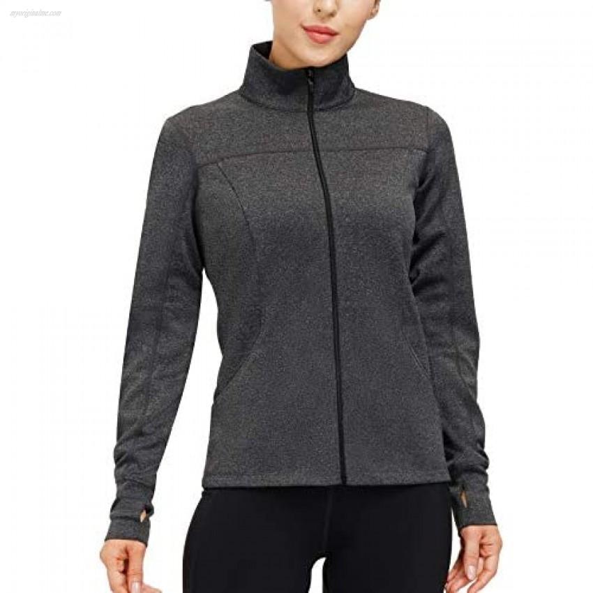Women's Running Jacket Slim Fit Lightweight Long Sleeve Full Zip Workout Yoga Jackets Athletic Track Jacket