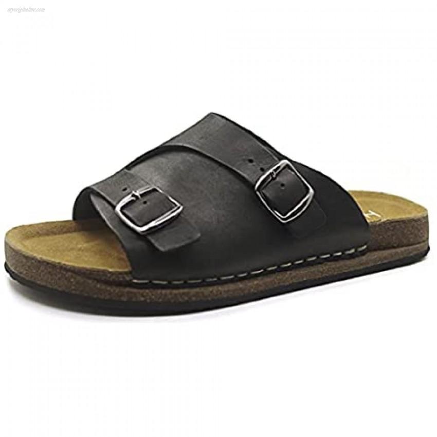 Harssidanzar Womens Leather Slide Sandals Cork Footbed Adjustable Buckle Slip On Sandal GL208