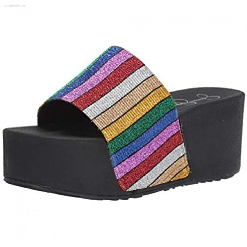 Jessica Simpson Women's Faille Metallic Platform Wedge Sandal Multi Size 7