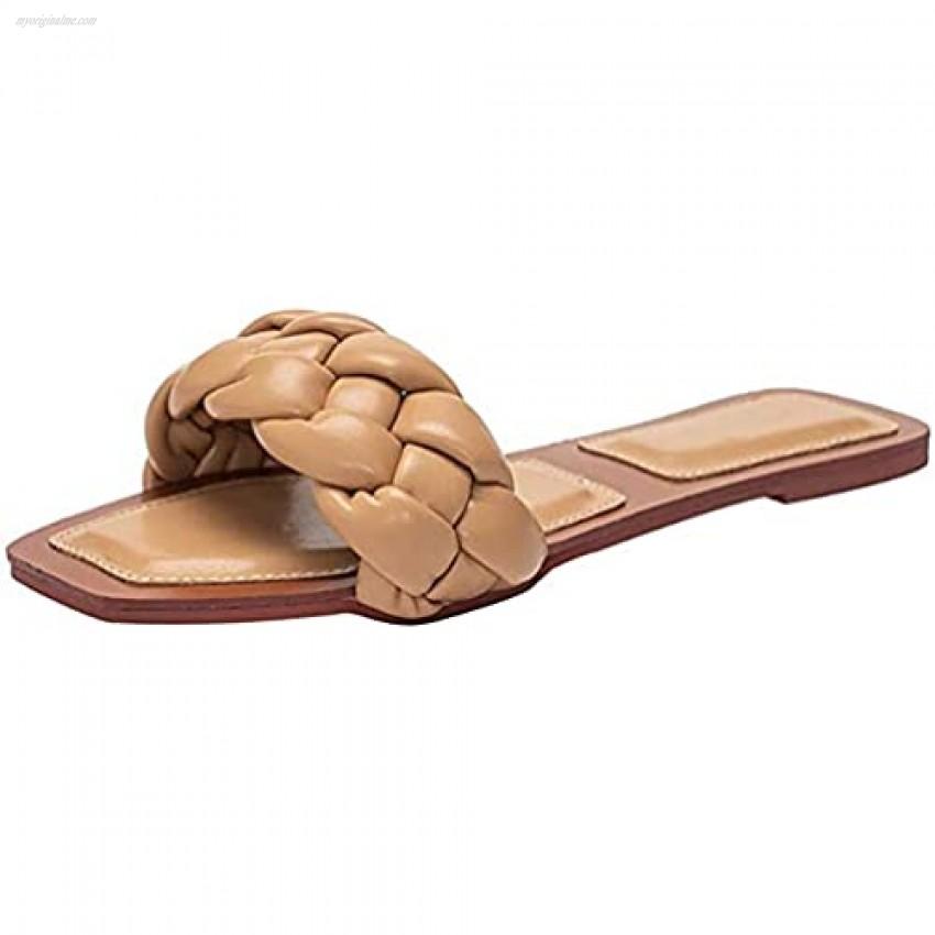 Juliet Holy Womens Square Open Toe Flat Slipper Summer Braided Slip On Mule Slide Sandal