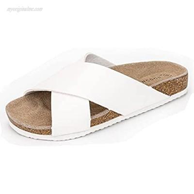 LANCDON Ladies Leather Flat Cork Slides Sandals for Women Criss-Cross Strap Slide Cork Sandals Summer Beach Flats Shoes