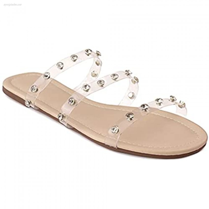 RF ROOM OF FASHION Women's Double Clear Band Slide On Flat Sandals