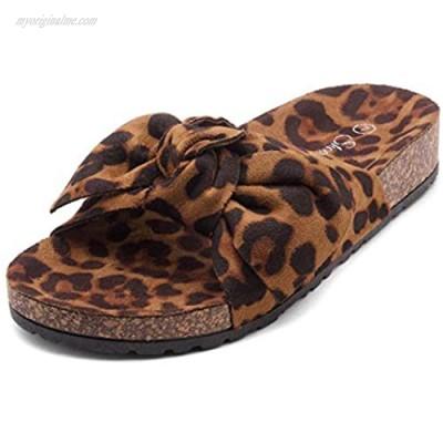 Shoe Land SL-Nylah Women's Knot Bow Slide Sandals Cork Footbed Slip on Slides Casual Platform Slippers