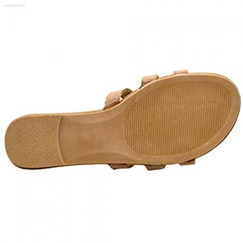 UBXRIN Women's Slide Flat Sandals with Rhinestones Open Toe for Summer
