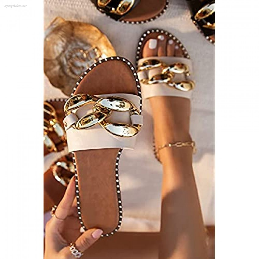Women's Leather Flat Slippers Metallic Link Chains Slip On Summer Indoor and Outdoor Slide Sandals