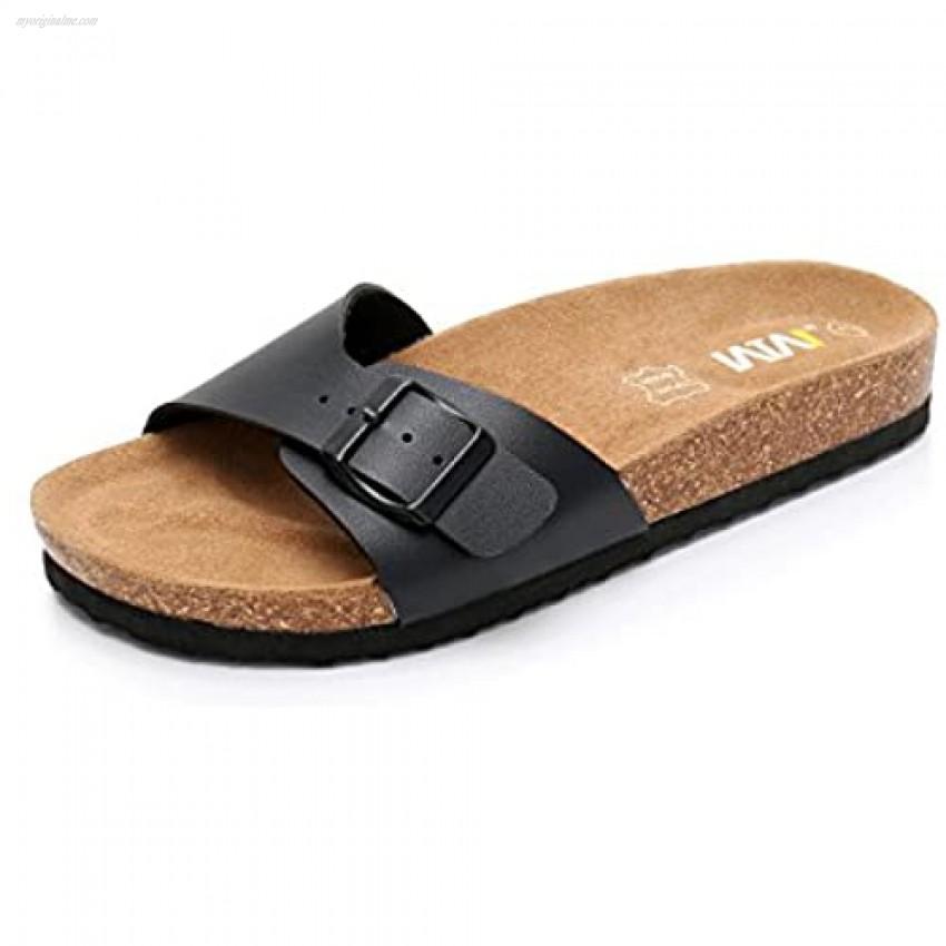 Women's Slide Flat Cork Sandals with Adjustable Strap Buckle Open Toe Slippers Suede Sole