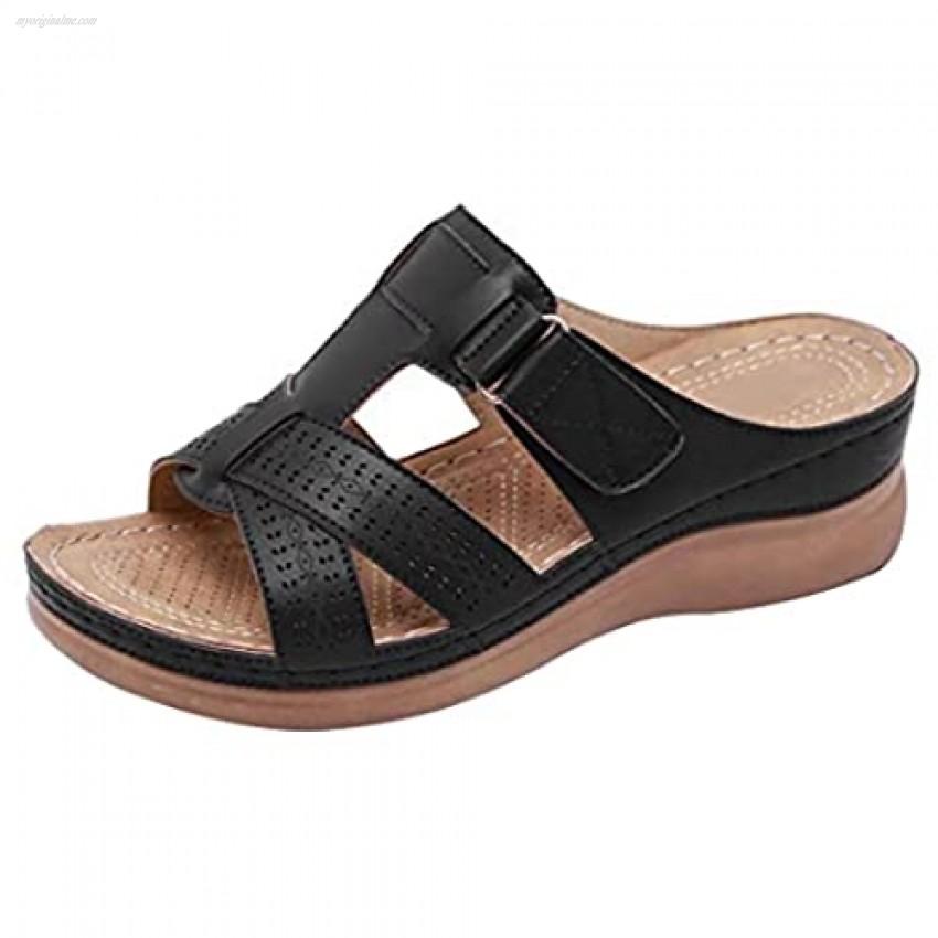 Womens Wedges Slide Sandals Low Heel Comfort Non-Slip Walking Slippers For Summer Beach Walking