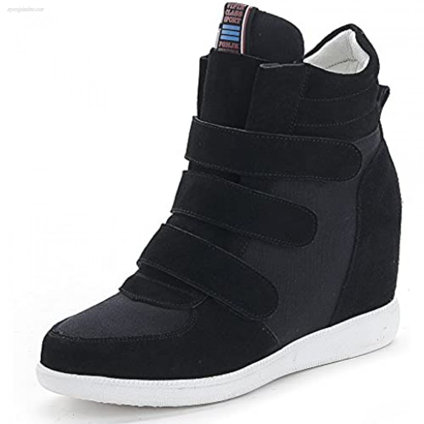 ANUFER Womens Fashion Hidden Heel Wedge Sneakers Elevator Shoes Comfortable Suede&Fabric Trainers