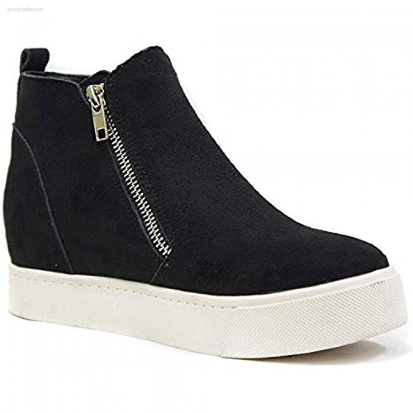 Soda Taylor Dusty Mauve Hidden Fashion Wedge Sneaker Shoes Side Zipper