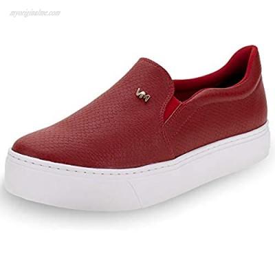 Woman's Slip on Sneaker Platform Padded Insole Comfort Animal Print red