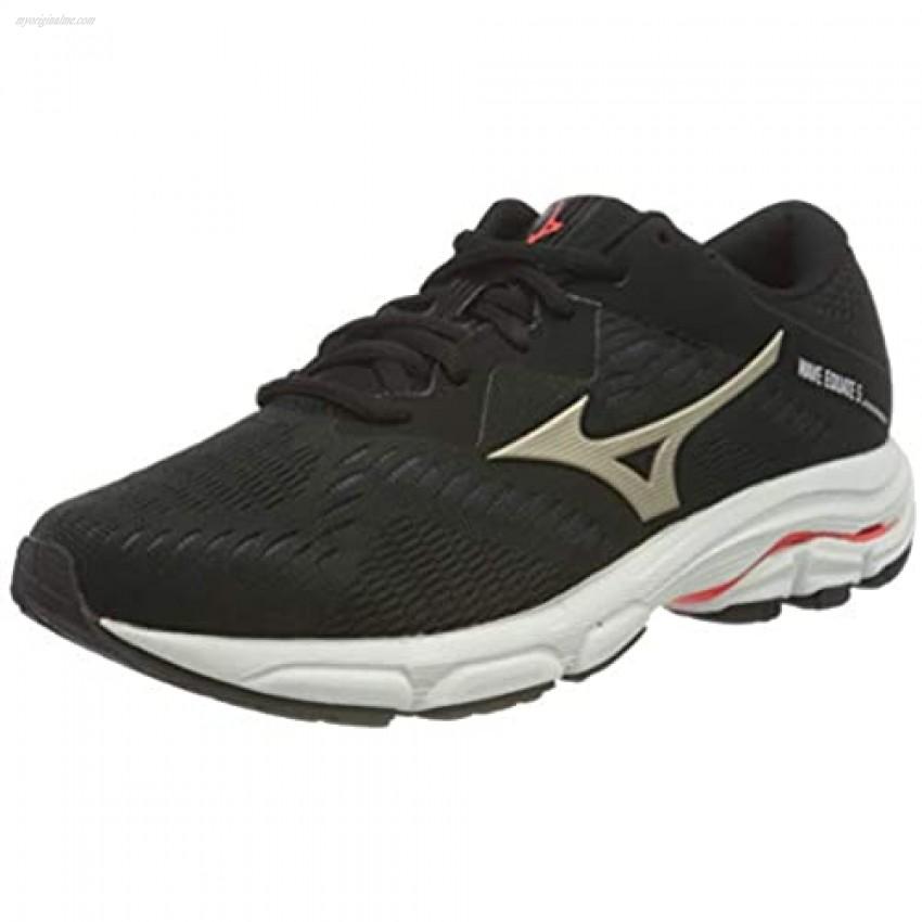 Mizuno Women's Wave Equate 5 Running Shoe Black Pgold Ignitionred 9.5