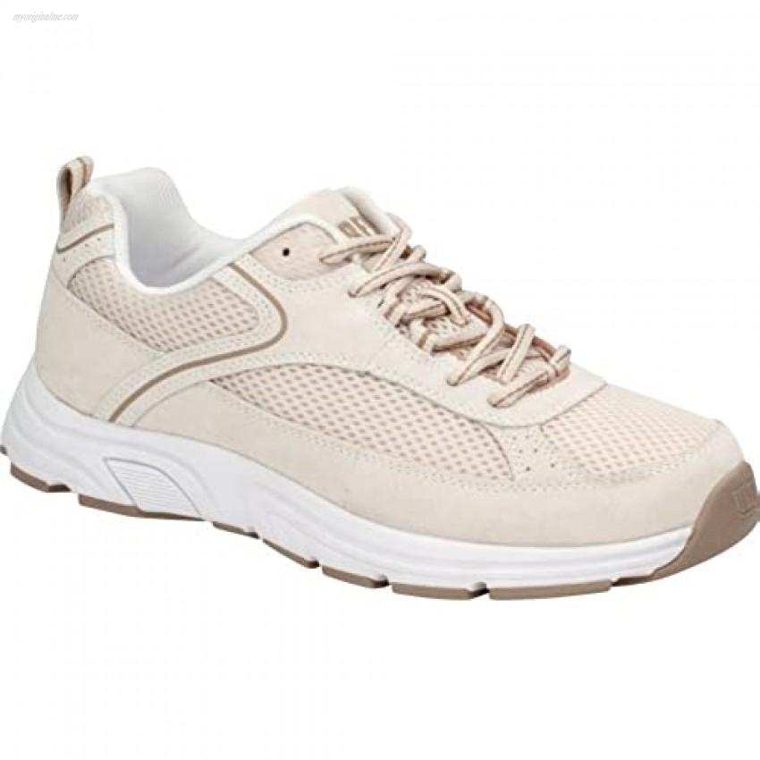 Drew Shoes Athena Women's Therapeutic Diabetic Extra Depth Shoe: Cream/Combo Suede/Floral/Mesh 7 X-Wide (2E) Lace