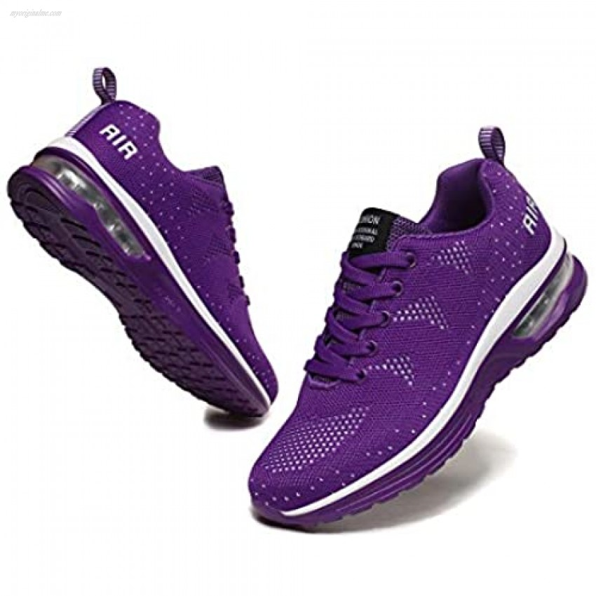 EnllerviiD Women's Walking Shoes Lightweight Slip On Air Cushion Soft Breathable Sneakers Purple 42