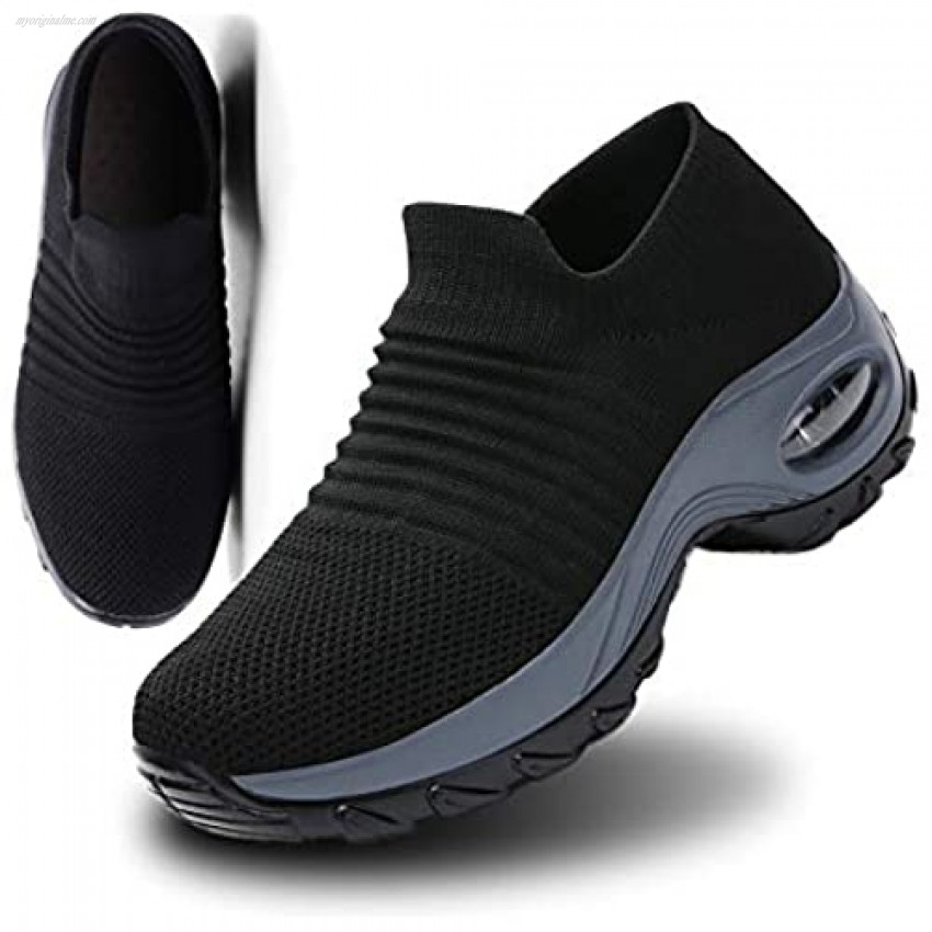 Tvtaop Womens Workout Shoes Walking Shoes Fashion Sneakers Breathable Mesh Casual Sport Shoes Comfortable Black