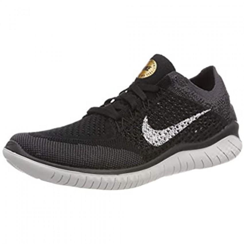 Nike Women's Free Rn Flyknit 2018 Running Shoe (9.5 Black/Vast Grey-Metallic Gold)
