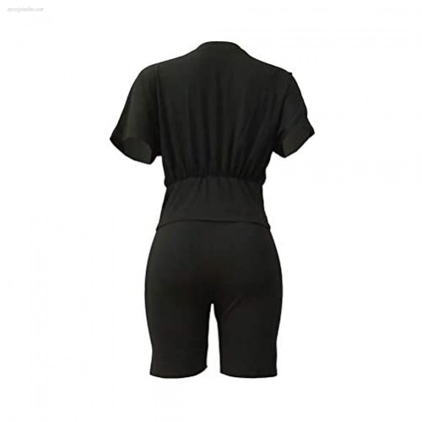 Elosele Women Sexy 2 Piece Outfits Short Sleeve Corset Top Bodycon Shorts Set Tracksuit Jumpsuit