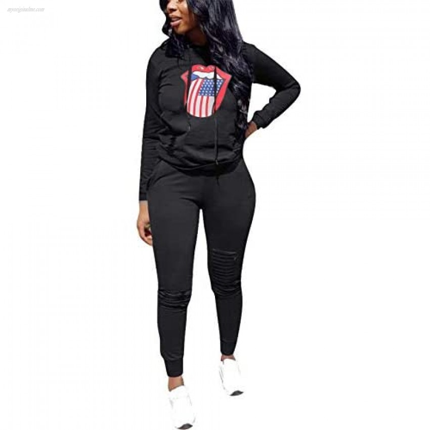 KUBAO Women Sport Outfits Casual 2 Piece Long Sleeve Ripped Hole Pullover Hoodie Sweatpants Set