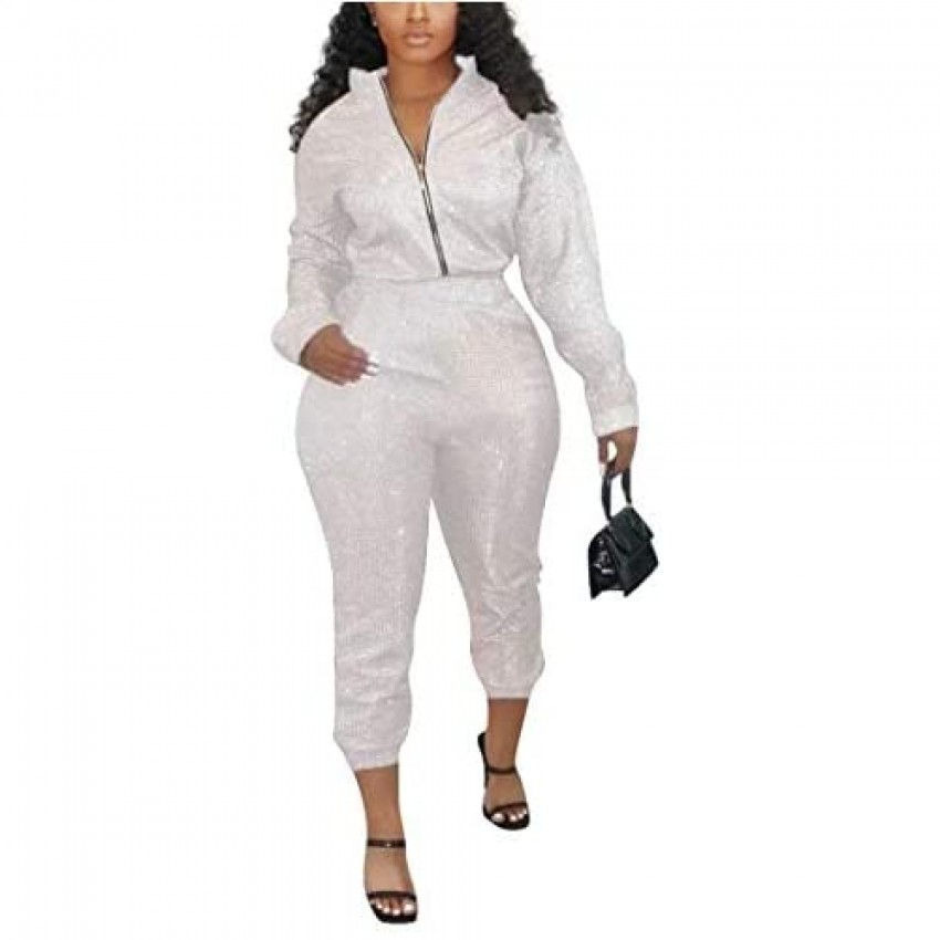 Sexy 2 Piece Outfits Jumpsuits for Women - Sequin Long Sleeve Jacket Tops Bodycon Long Pants Sweatsuit Clubwear