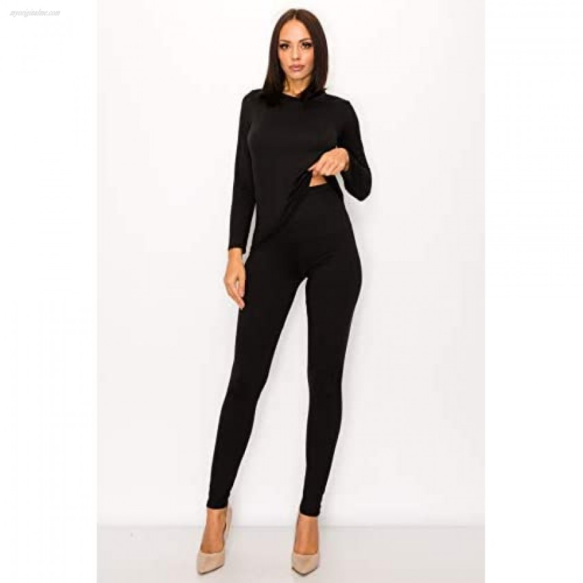 SWEET TEE Two Piece Lounge Outfits for Women - Ultra Buttery Soft Stretch Legging Long Sleeve Top Pajama Tracksuit Set