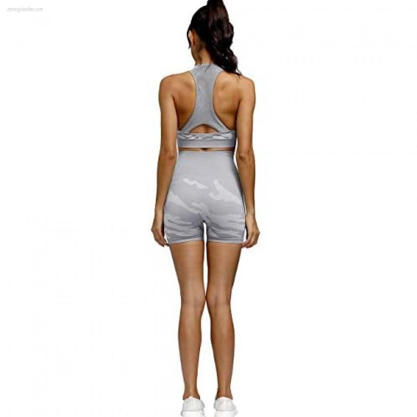 Toplook Women Seamless Camo Workout Outfit Set Yoga Shorts Bra 2 Pieces