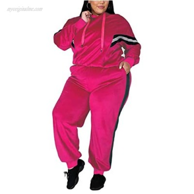 Velour Tracksuit Womens 2 Pieces Plus Size Joggers Outfits Long Sleeve Hoodie and Pants Sport Sweatsuits Set