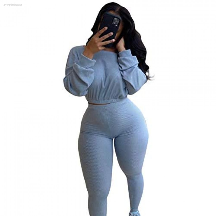 Womems Two Piece Bodycon Workout Outfits Ribbed Crop Top Skinny Long Pants 2 Piece Sweatsuits Matching Jogger Set