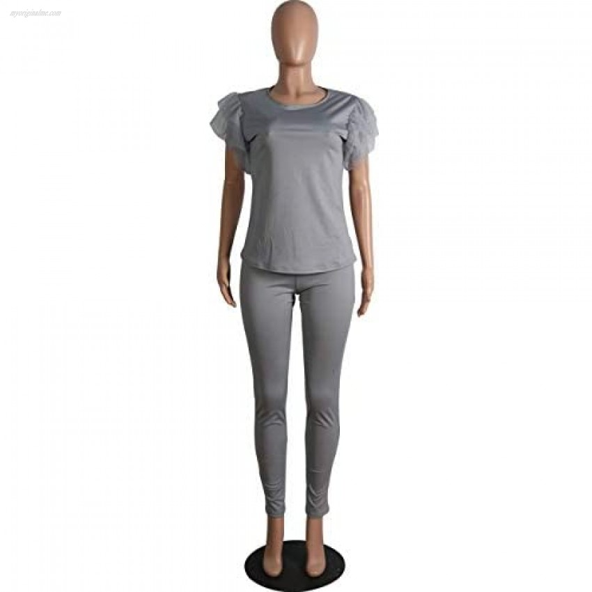 Women Casual 2 Piece Outfit Mesh Ruffle Short Sleeve Pullover Top Skinny Pants Tracksuit Sets