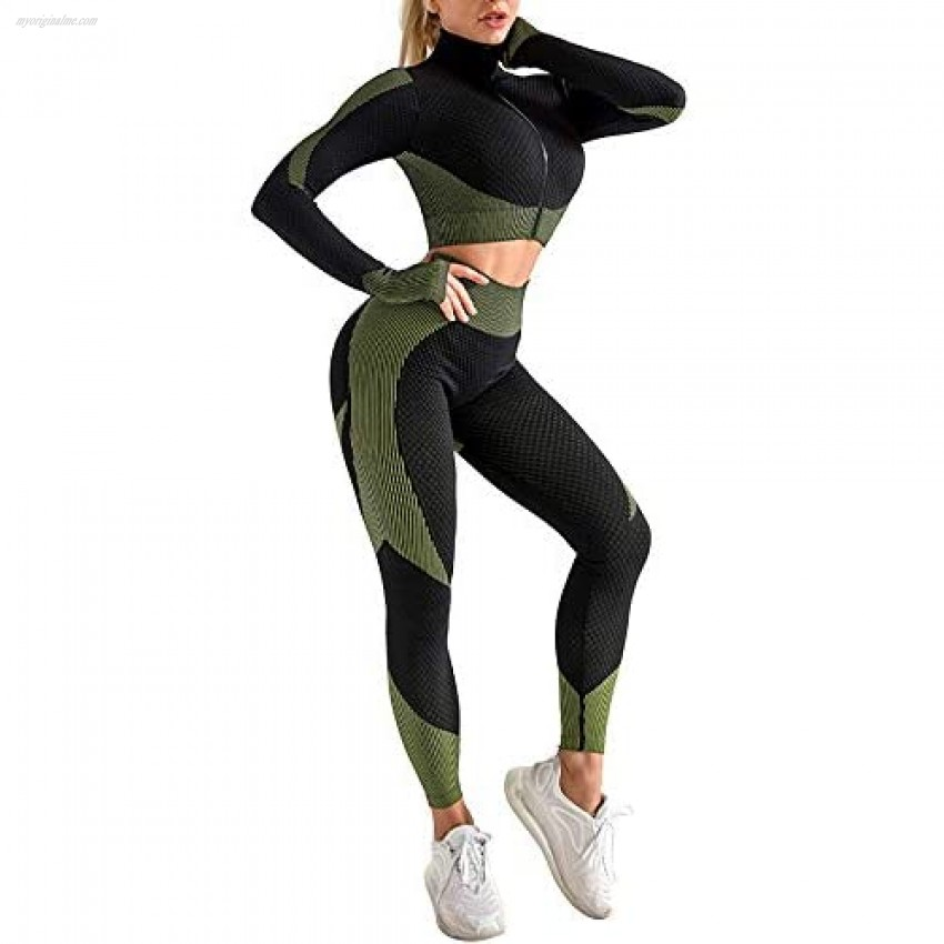 Women's 2 Piece or 3 Piece Tracksuit Workout Set - High Waist Leggings and Crop Top