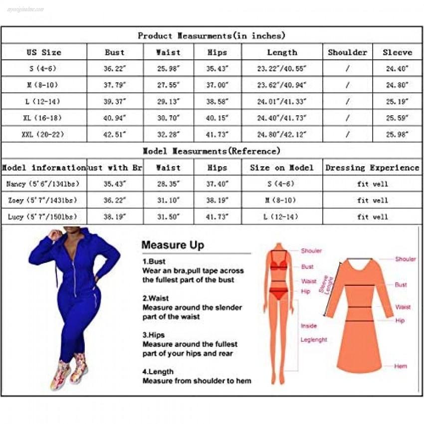 Women's 2 Piece Outfits - Sports Sweatsuit Zip Up Hoodie Jackets + Long Pants Tracksuit Jogger Sets