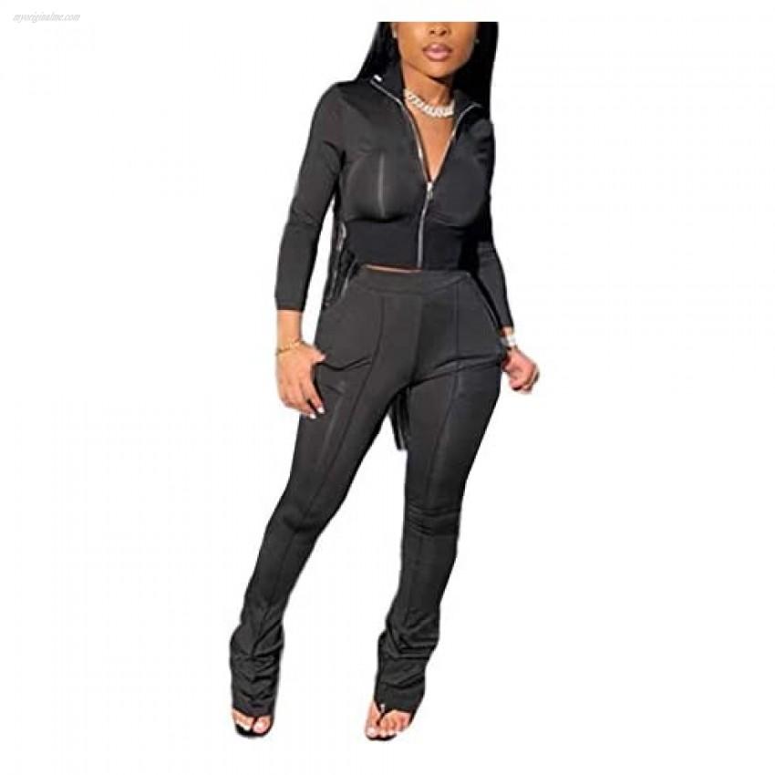 Womens casual solid color 2 Piece Outfits Set Zipper Jacket Bodycon Pants Clubwear Tracksuit Sportswear Sweatsuit