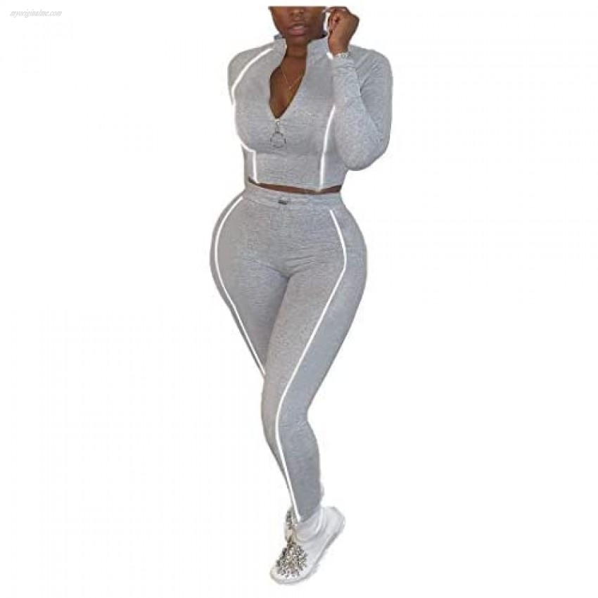 Womens Rib-Knit 2 Pieces Outfit Reflective Striped Zip Crop Top and Side Stripe Pant Set Slim fit Tracksuit Sweatsuit