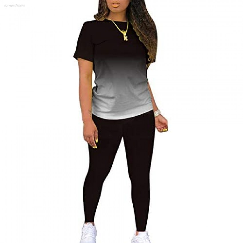 Womens Short Sleeve Sport Tops and Long Pants Set Casual 2 Pieces Outfis Tracksuits Sweatsuits