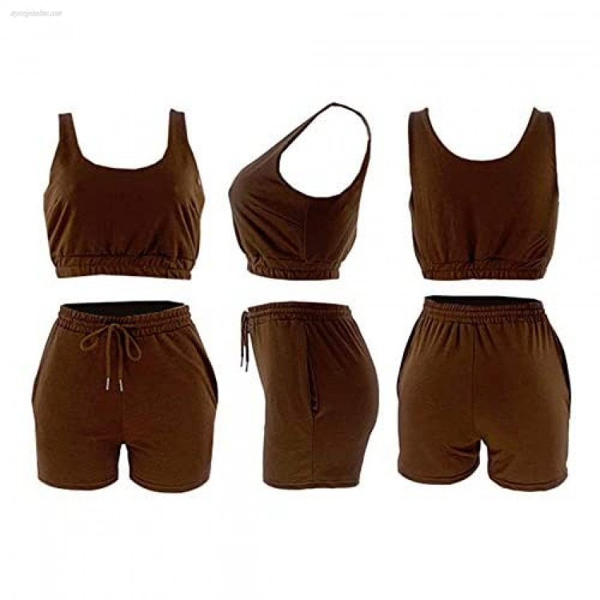 Womens Summer Casual 2 Piece Outfits Sexy Sleeveless Crop Tops and Loose Shorts