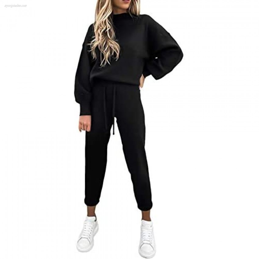 Womens Sweatsuits Long Sleeve High Neck Pullover Tops Jogger Pants Set 2 Pieces Outfits Tracksuits Black S