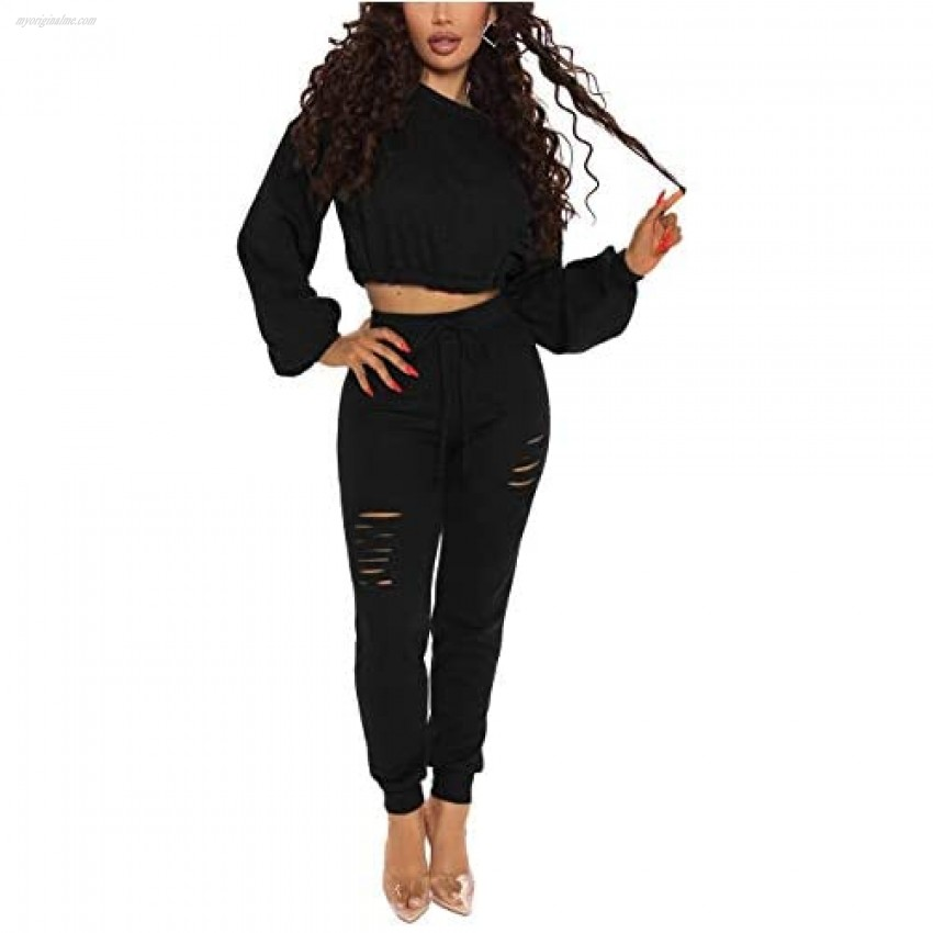 Women's Two Piece Outfits Long Sleeve Sexy Crop Tops Solid Color Tracksuits Black