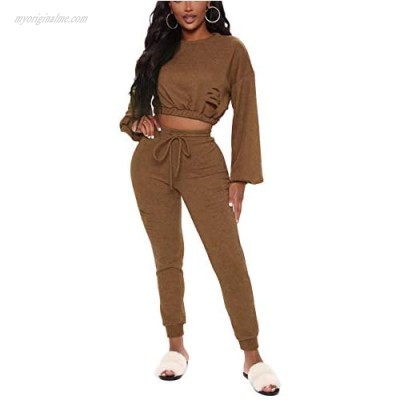 Women's Two Piece Outfits Long Sleeve Sexy Crop Tops Solid Color Tracksuits Brown